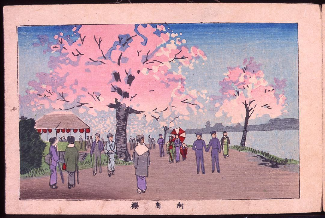 画帖 版画東京百景 ー 向島桜/Cherry Blossoms at Mukojima : One Hundred Views of Tokyo, Block Print image